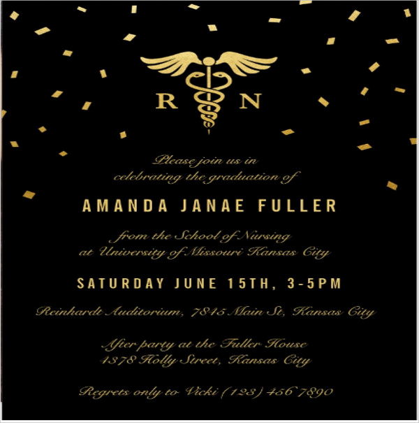 Nursing Graduation Invitation Templates Free Inspirational 48 Sample Graduation Invitation Designs & Templates Psd