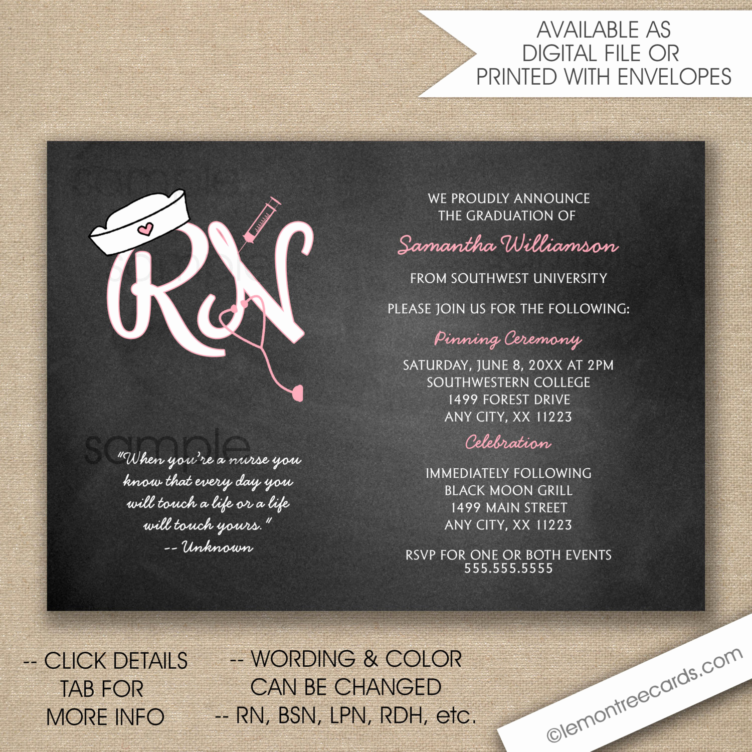 Nursing Graduation Invitation Templates Free Inspirational Rn Nurse Pinning Ceremony Invitations Free Shipping Digital