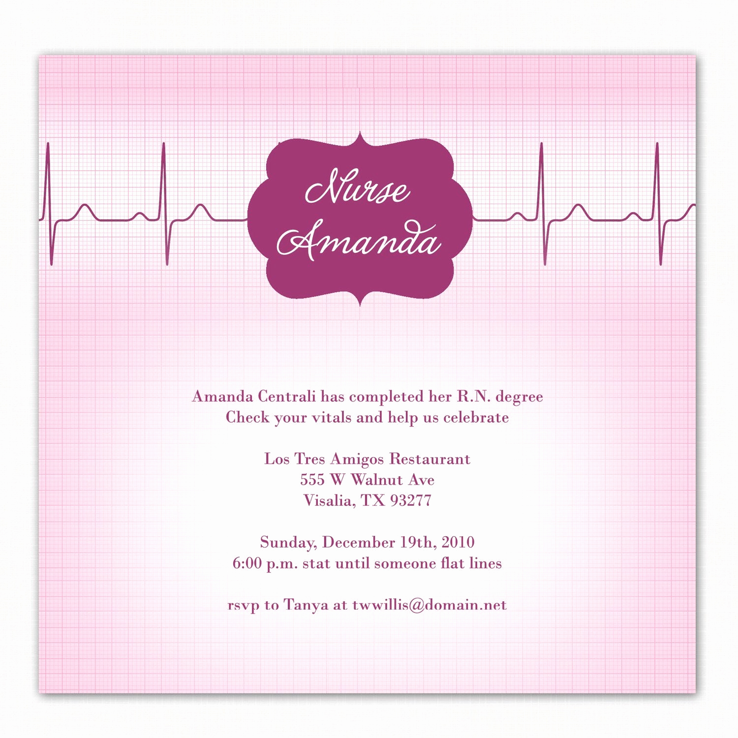 Nursing Graduation Invitation Templates Free Luxury R N A Custom Photo Party Invitation for A Registered Nurse