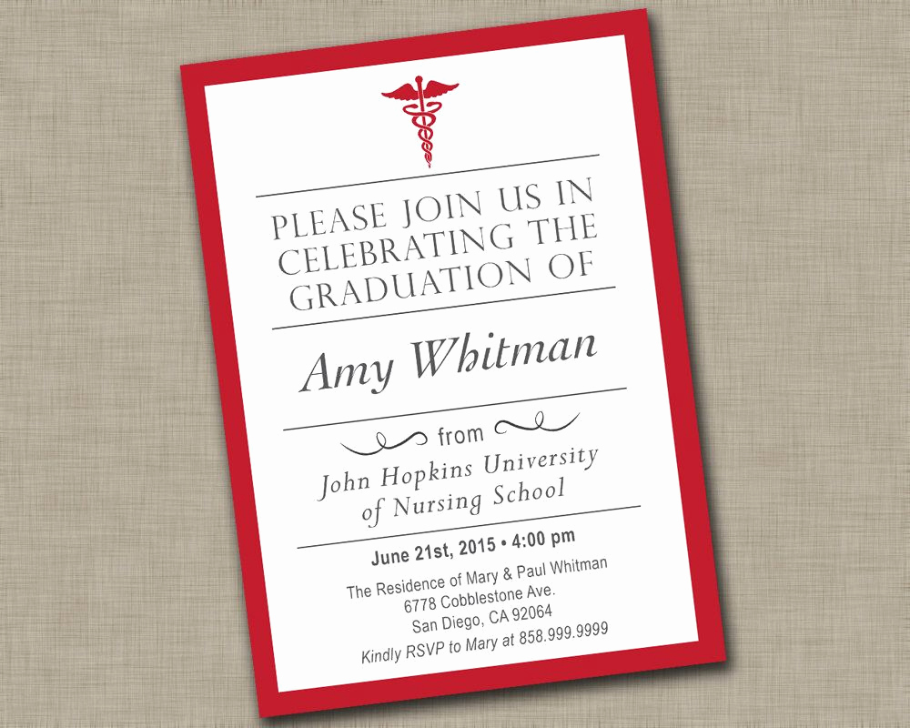 Nursing Graduation Invitation Templates Free New Nursing School Graduation Invitation Medical Graduation