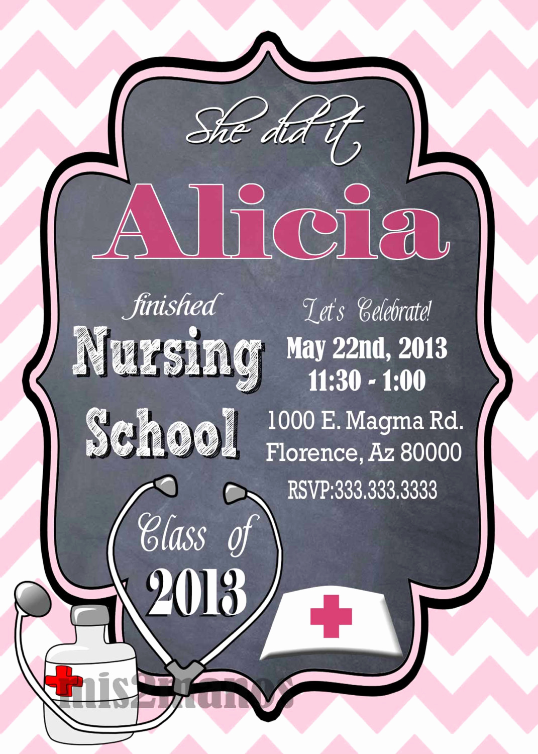Nursing Graduation Invitation Templates Free Unique Nursing Medical Degree Graduation Party Invitation Graduation