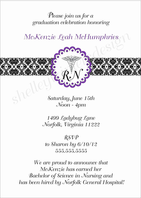 Nursing Graduation Party Invitation Wording Best Of Nurse Graduation Pinning Ceremony Invitation Caduceus