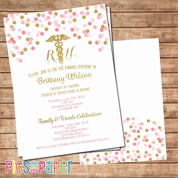Nursing Graduation Party Invitation Wording Lovely Nursing Graduation Invitation Rn or Lvn Pink and Gold