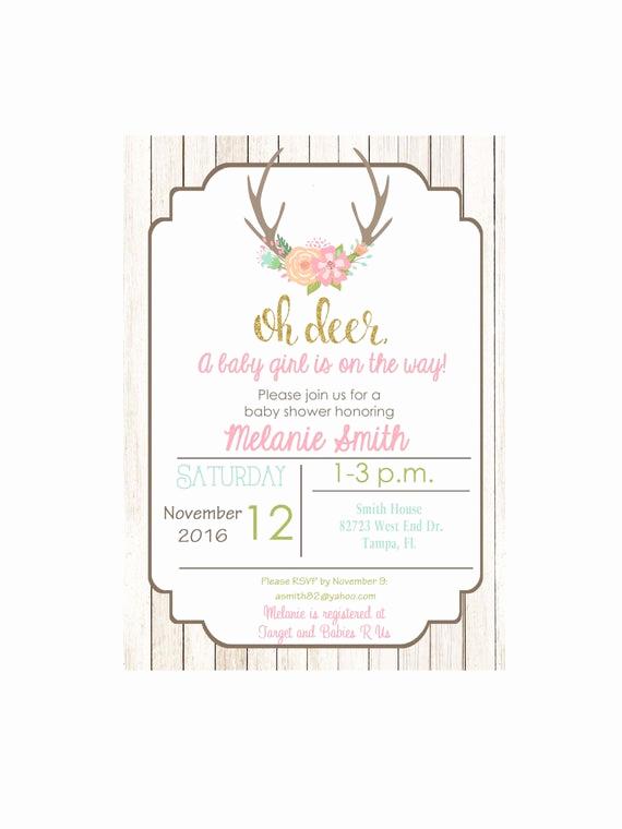 Office Baby Shower Invitation Fresh Deer Baby Shower Invitation Oh Deer Baby Shower Baby Girl