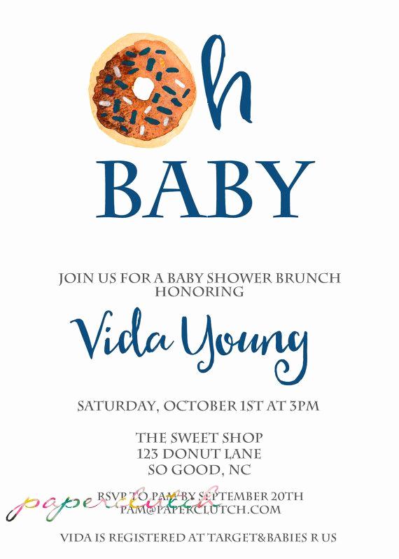Office Baby Shower Invitation Luxury Donut Baby Shower Invitation