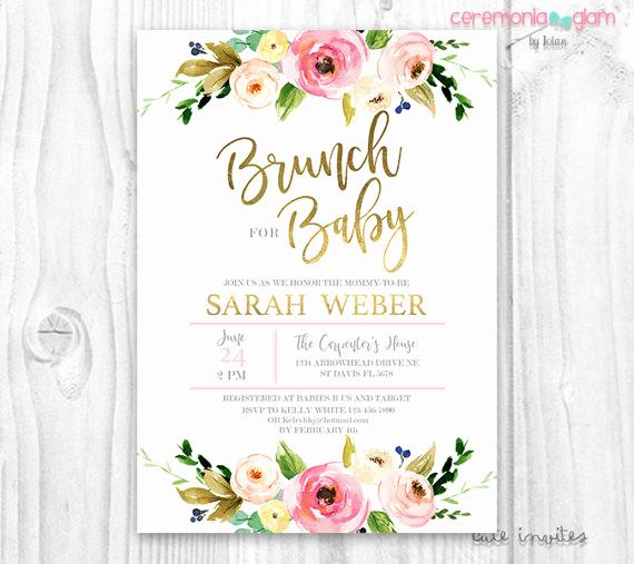 Office Baby Shower Invitation Wording Luxury Floral Baby Shower Invitation Brunch for Baby Invitation