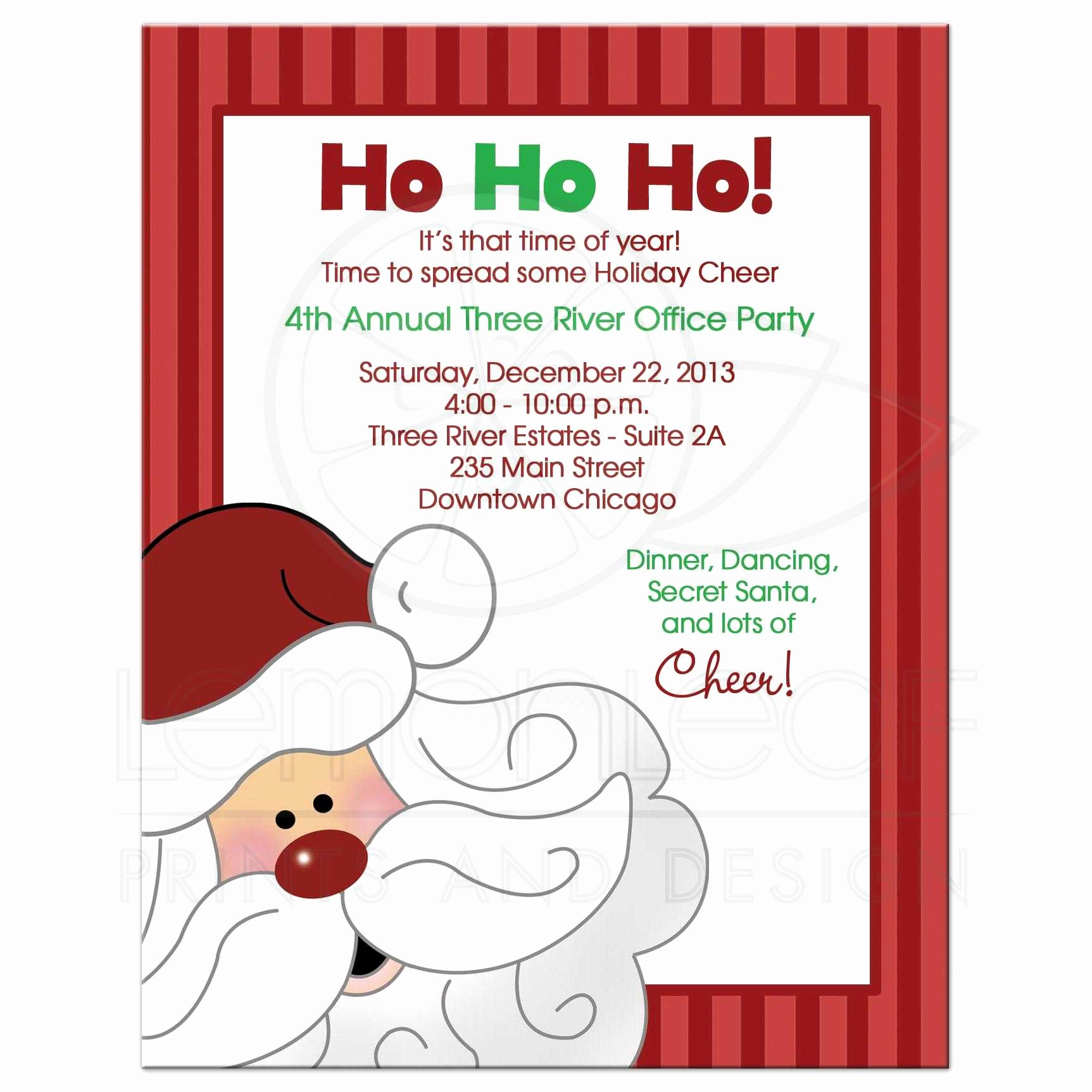 Office Christmas Party Invitation Wording Beautiful Santa Claus Christmas Fice Party Invitation
