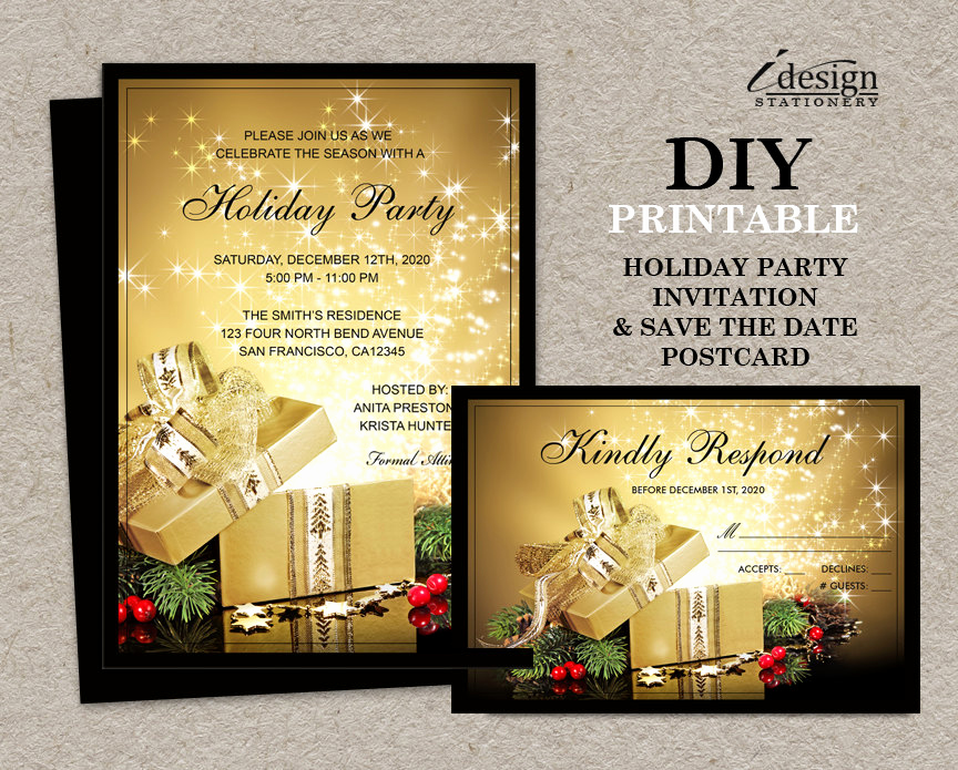 Office Christmas Party Invitation Wording Luxury Christmas Holiday Party Invitation with Rsvp Card