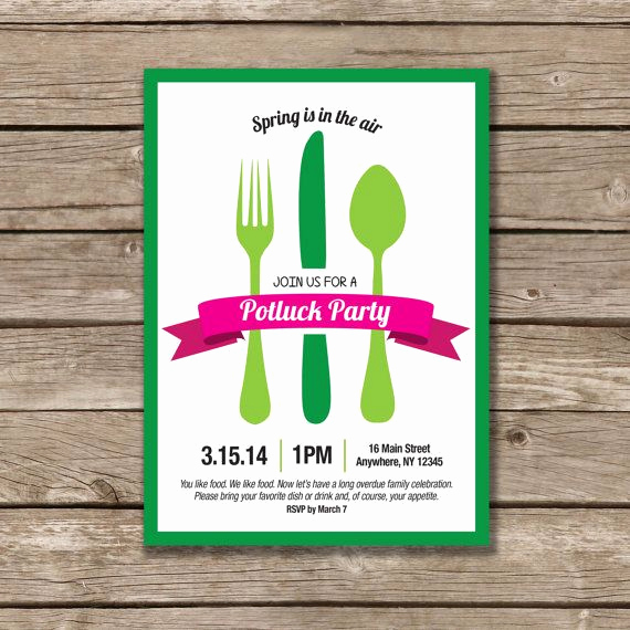 Office Potluck Invitation Wording Elegant Potluck Party Potluck Invitation Printable Made to