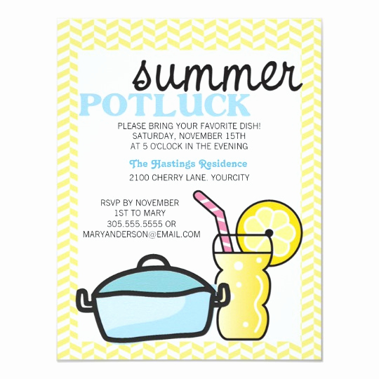Office Potluck Invitation Wording Luxury Bright Summer Potluck Card