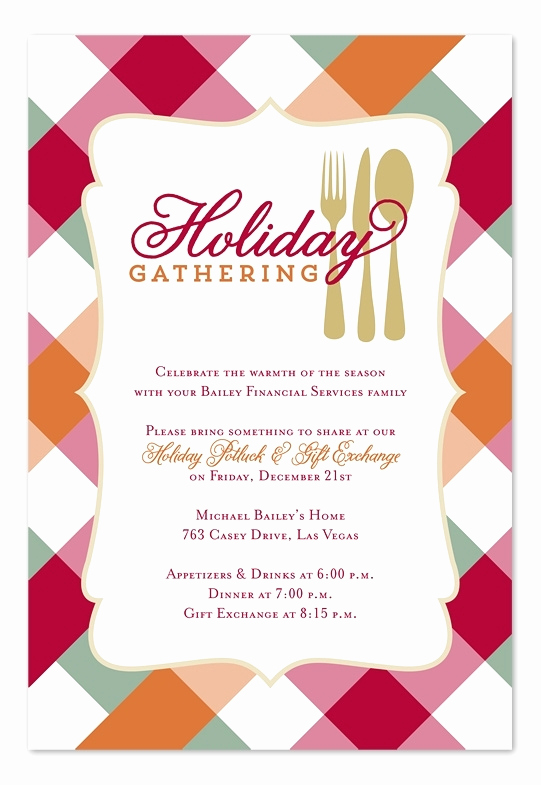 Office Potluck Invitation Wording Samples Beautiful Holiday Potluck Invitation Cobypic