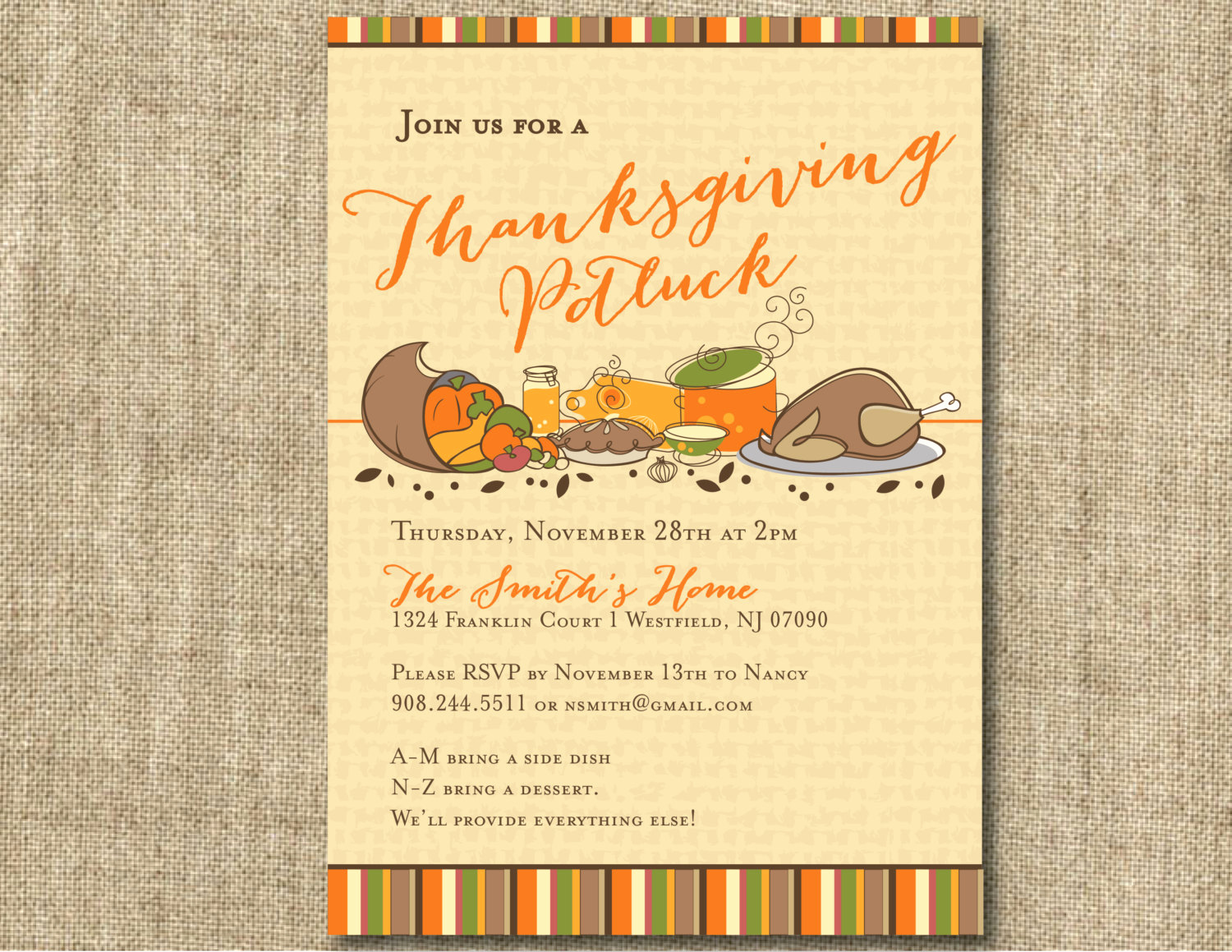 thanksgiving potluck invitation