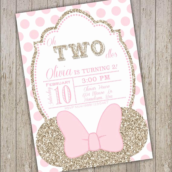 Oh Two Dles Invitation Awesome Minnie Mouse Invites Second Birthday Minnie Mouse Party