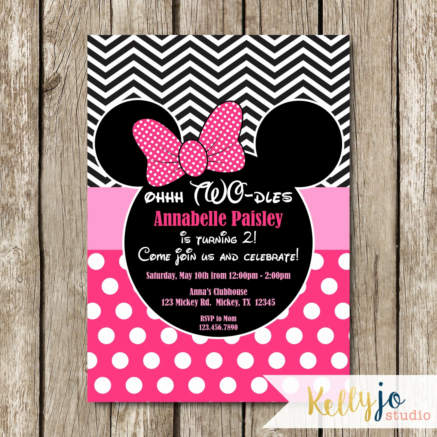 Oh Two Dles Invitation Beautiful Pink Minnie Mouse Oh Two Dles Birthday Invites Pink Minnie