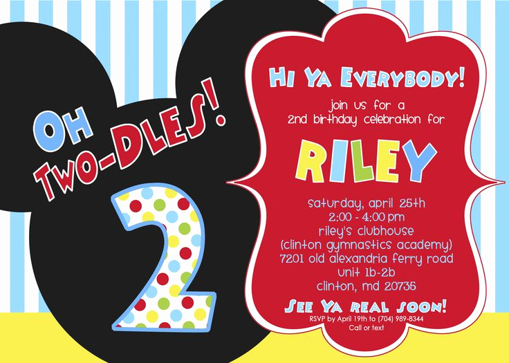 Oh Two Dles Invitation Best Of Invites Ing soon Riley S Clubhouse Party