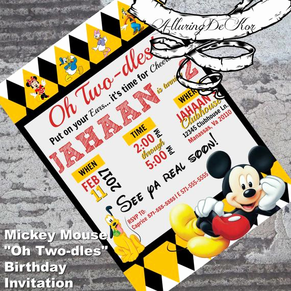 "Oh Two Dles Invitation Best Of Mickey Mouse Invitation ""oh Two Dles"" Birthday Invitation"