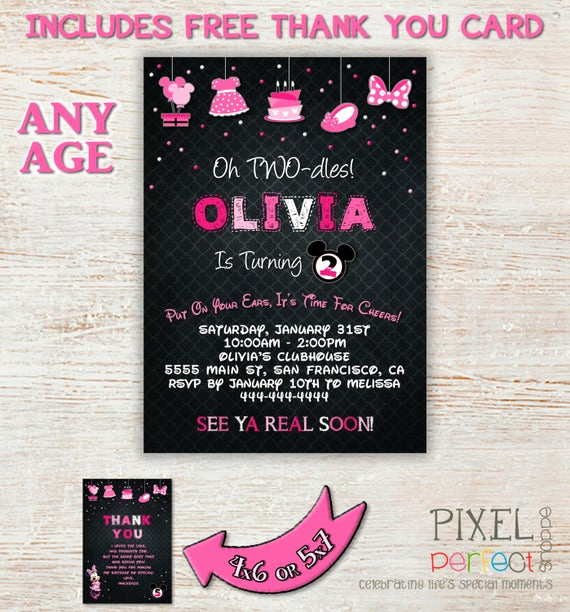 Oh Two Dles Invitation Best Of Minnie Mouse Invitation Minnie Mouse Card by