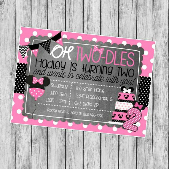 Oh Two Dles Invitation Best Of Minnie Mouse Invite Oh Two Dles Printable by Creativekittle
