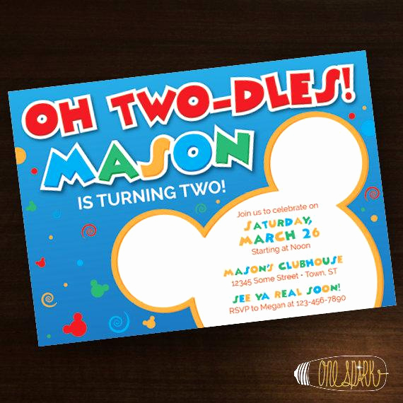 Oh Two Dles Invitation Best Of Oh toodles Birthday Invitation Mickey Mouse Two Dles