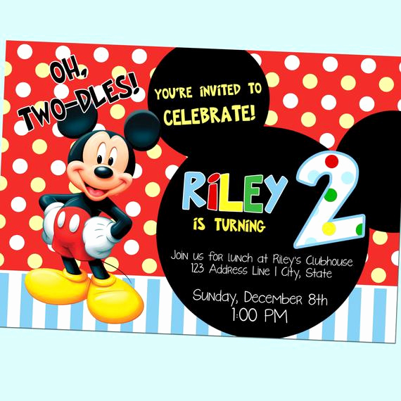 Oh Two Dles Invitation Best Of Oh Two Dles Mickey Mouse Club House Second by Goodhuedesigns