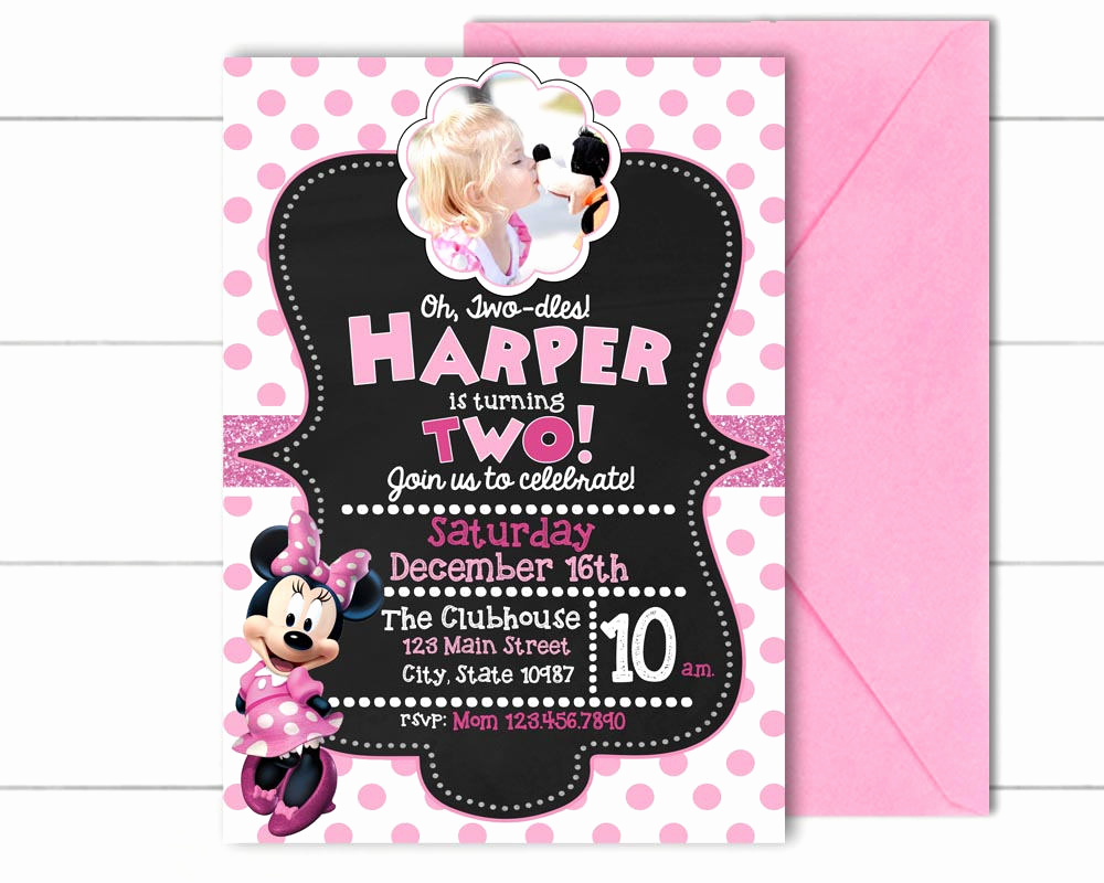 Oh Two Dles Invitation Best Of Oh Two Dles Minnie Mouse Birthday Invitation Pink & White