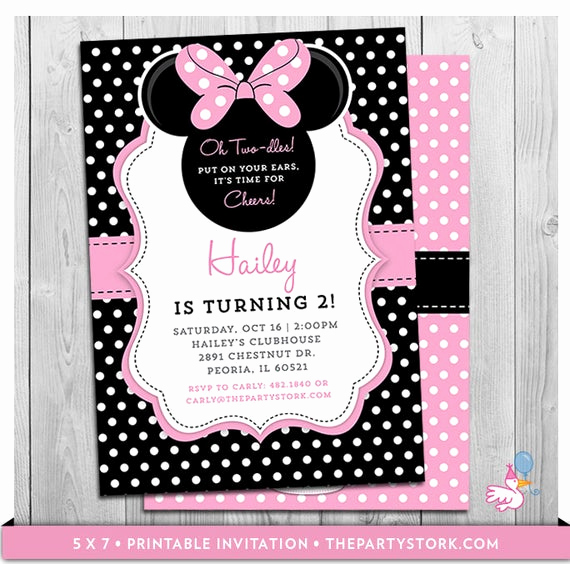 Oh Two Dles Invitation Elegant Minnie Mouse Birthday Invitations