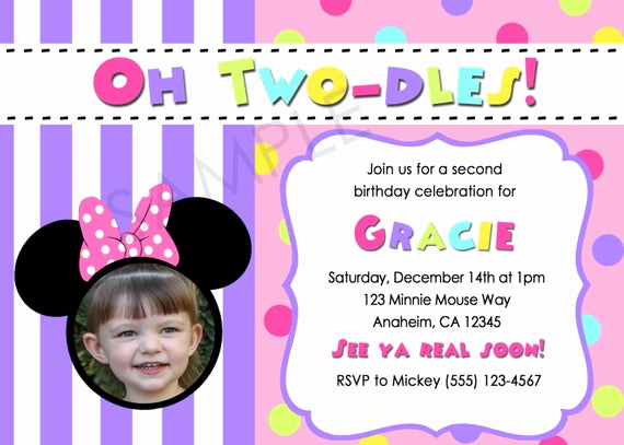 Oh Two Dles Invitation Inspirational Oh Two Dles 2nd Birthday Minnie Mouse Disney theme