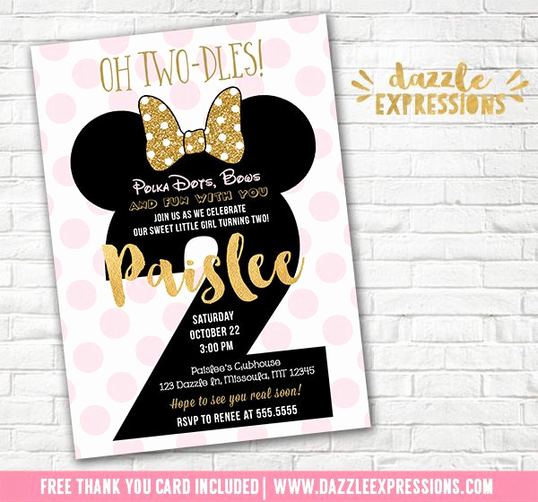 Oh Two Dles Invitation Inspirational Printable Pink and Gold Glitter Minnie Mouse Inspired 2nd