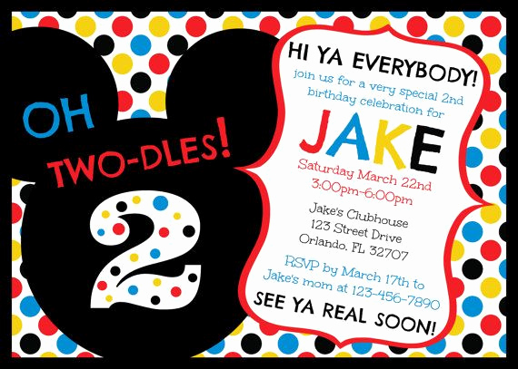 Oh Two Dles Invitation Luxury Mickey Mouse Clubhouse Oh Two Dles 2nd Birthday Invitation
