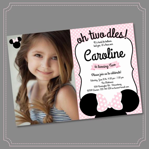 Oh Two Dles Invitation Luxury Minnie Mouse 2nd Birthday Invitations Printable Girls Party