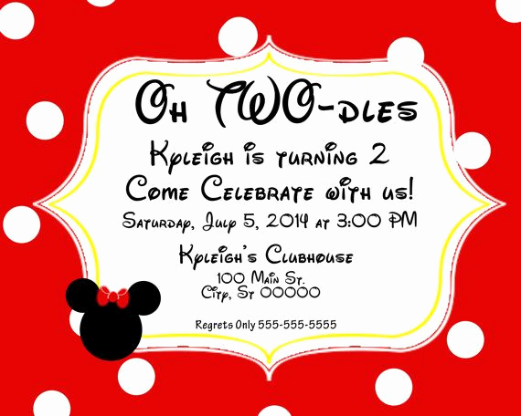 Oh Two Dles Invitation New Mickey Minnie Mouse Birthday Invitation