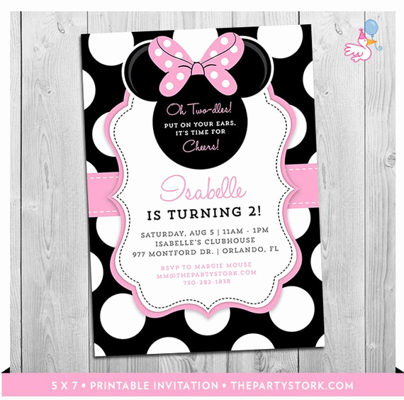 Oh Two Dles Invitation New Minnie Mouse Birthday Invitations