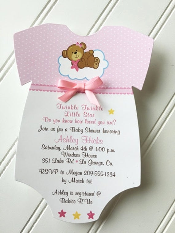 Onesie Baby Shower Invitation Beautiful Baby Shower Esie Invitation Twinkle Twinkle Little Star