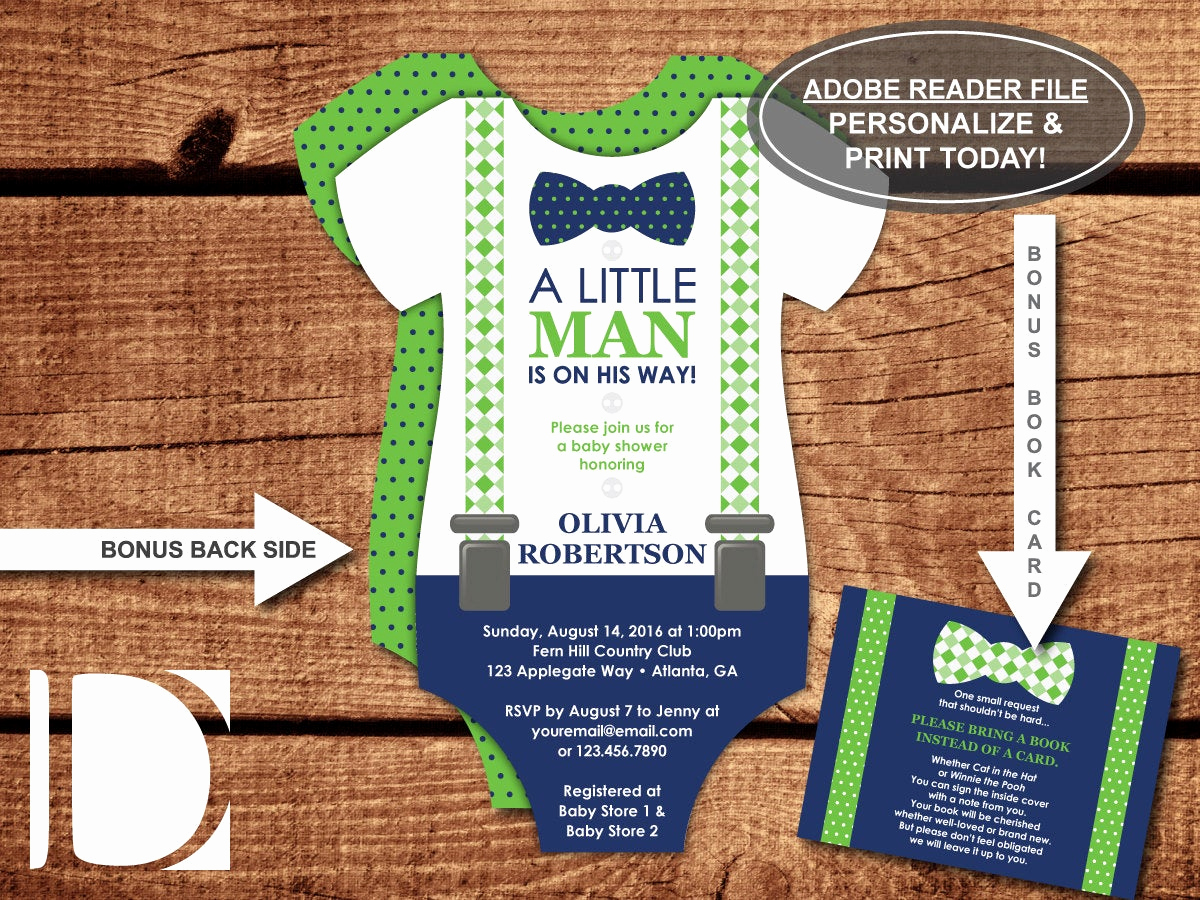 Onesie Baby Shower Invitation Beautiful Little Man Baby Shower Invitation Esie by Dereimerdesign