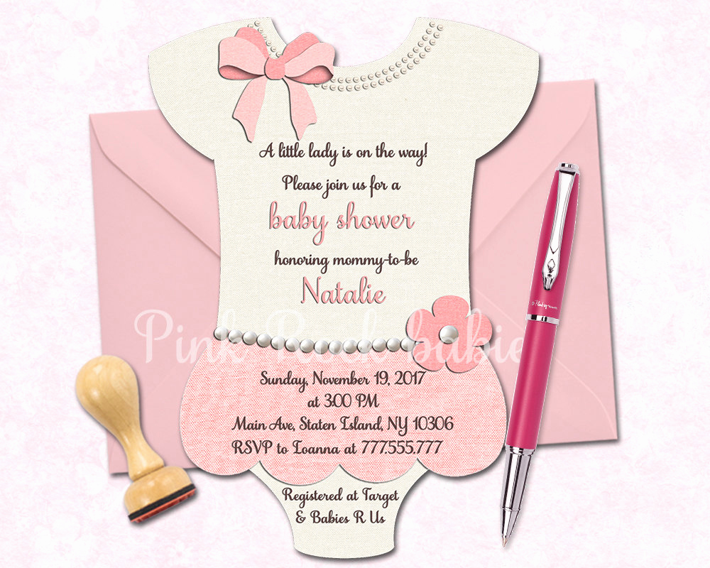 Onesie Baby Shower Invitation Best Of Esie Shaped Baby Shower Printable Invitation Girl Little