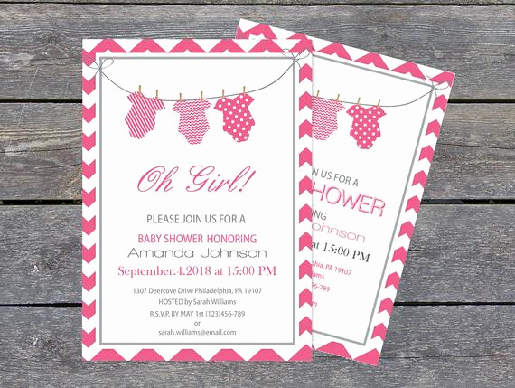 Onesie Baby Shower Invitation Elegant Esie Baby Shower Invitation Template 5 X 7 Pink & Grey