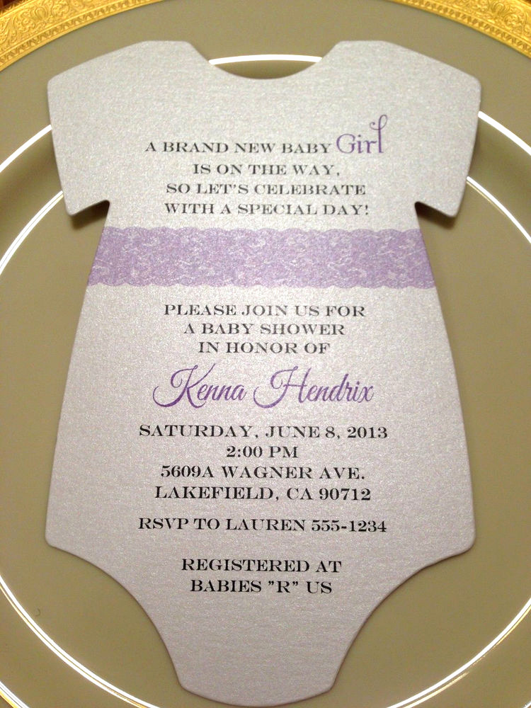 Onesie Baby Shower Invitation Fresh Baby Shower Invitation Esie Purple Lace for Girl Printed