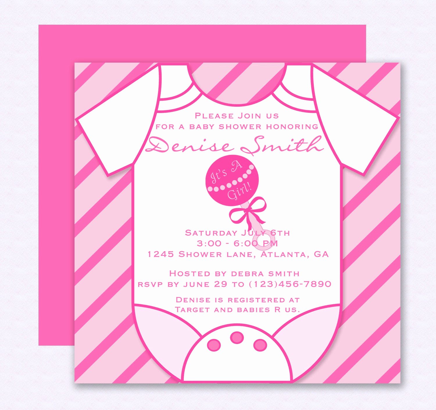 Onesie Baby Shower Invitation Fresh Pink Esie Baby Shower Invitation Editable Template