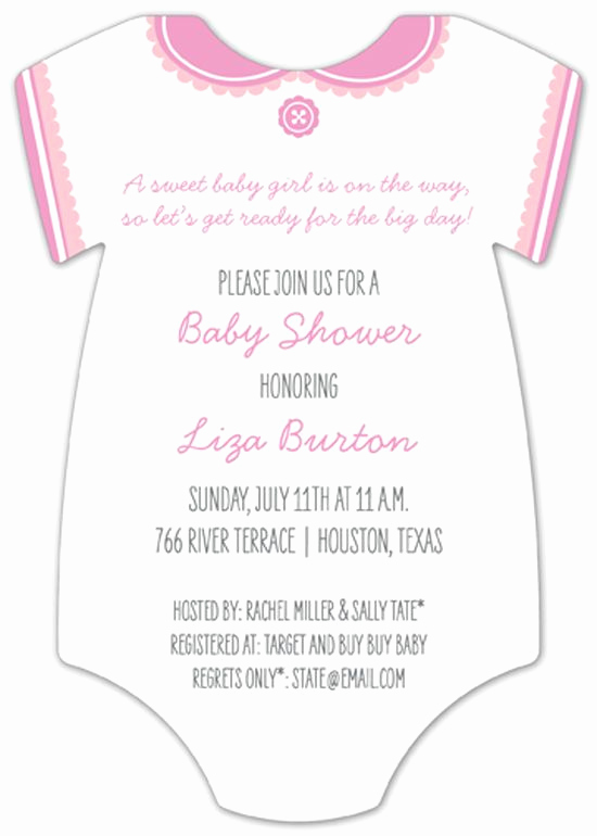 Onesie Baby Shower Invitation Template Awesome Classic White Girl Esie Invitation Baby Shower