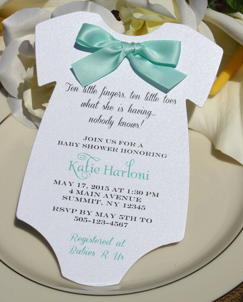 Onesie Baby Shower Invitation Template Best Of Baby Shower Invitation for Boy or Girlwith Aqua Satin Bow