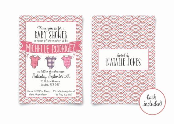 Onesie Baby Shower Invitation Template Fresh Esie Baby Girl Shower Invitation Template Customized