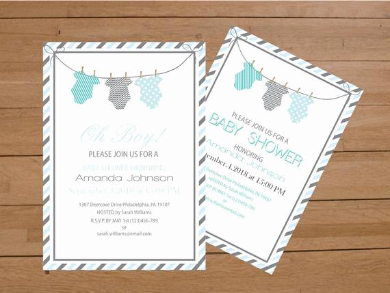 Onesie Baby Shower Invitation Template Inspirational Esie Baby Shower Invitation Template Blue & Grey Stripes