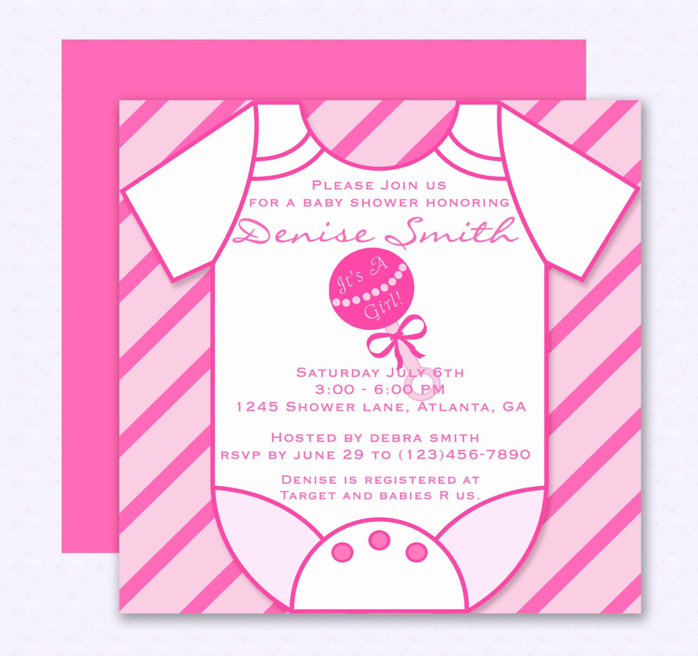 Onesie Baby Shower Invitation Template New Pink Esie Baby Shower Invitation Editable Template