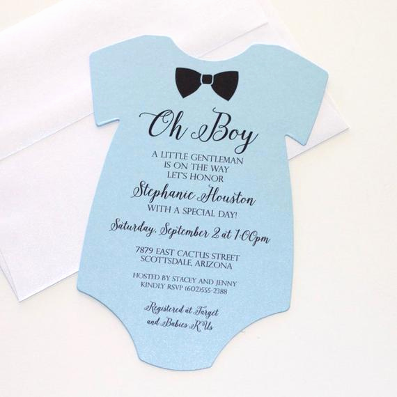 Onesie Invitation Template Printable Awesome Baby Shower Esie Invitation Blue Shower Invitation Baby