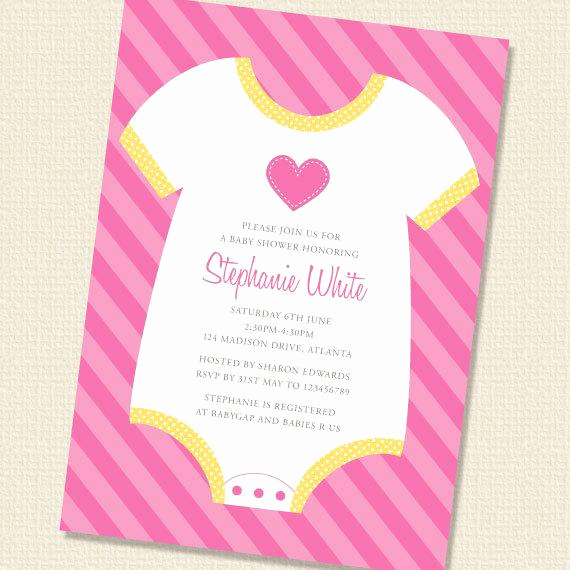 Onesie Invitation Template Printable Beautiful Items Similar to Baby Esie Girl Baby Shower Invitation