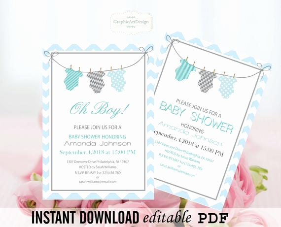 Onesie Invitation Template Printable Lovely Esie Baby Shower Invitation Editable Pdf by Graphicartdesign