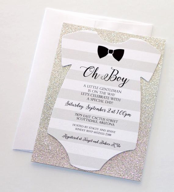 baby shower onesie invitation glitter