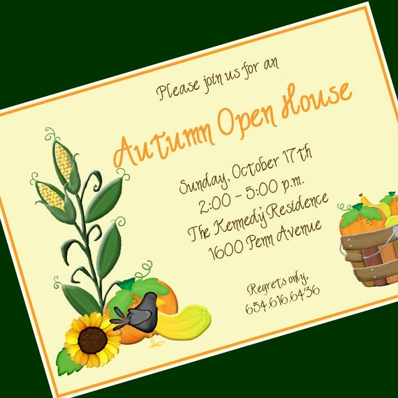 Open House Invitation Example Inspirational Fall Open House Invitation Custom Wording 12 by Cardsbycarolyn