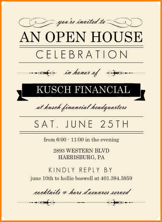 Open House Invitation Examples New Sample Open House Invitation