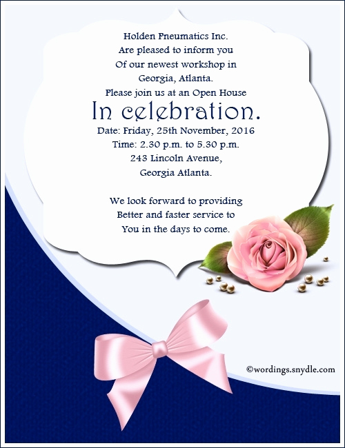 Open House Invitation Sample Best Of Open Day Invitation Wording Cobypic